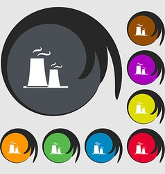 Atomic power station icon sign symbols on eight vector