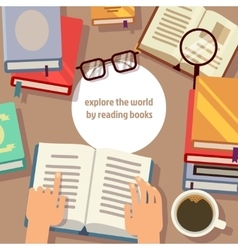 Books reading concept vector image