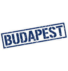 budapest blue square stamp vector image vector image