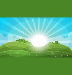 Cartoon landscape - abstract sun vector