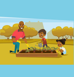 Cheerful african american father and two kids vector