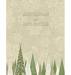 christmas forest over grunge background vector image