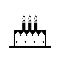 Contour delicious cake happy birthday celebration vector
