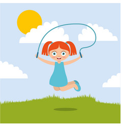 Cute smiling girl jumping with skipping rope in vector