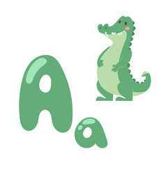 Cute zoo alphabet with cartoon animal crocodile vector