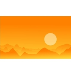 Desert on orange background landscape vector
