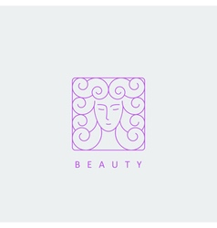 Female face logo template vector