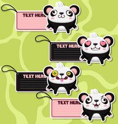 Four cute cartoon Pandas stickers vector image vector image