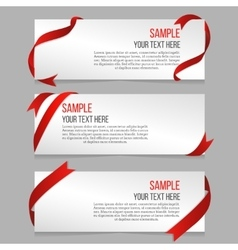Horizontal banners set with red ribbons vector image vector image