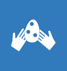 Icon egg in hands vector