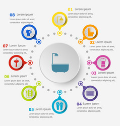 infographic template with bathroom icons vector image vector image