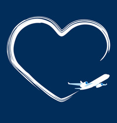 Jet plane left trace in the shape of heart vector