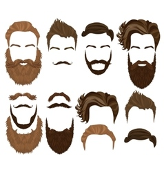 Man hair mustache and beard collection Men vector image vector image
