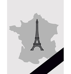 Map of france with mourning ribbon mourned in act vector
