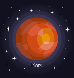 Mars planet in space with stars shiny cartoon vector
