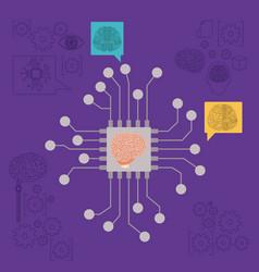 microprocessor unit circuit brain in purple vector image