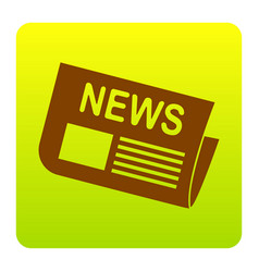 newspaper sign brown icon at green-yellow vector image vector image