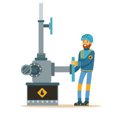 oilman working on an oil pipeline oil industry vector image