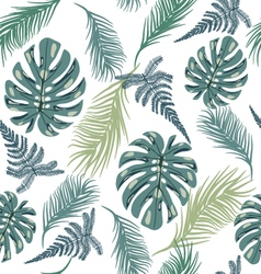 Pattern with exotic plant leaves vector