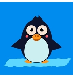 Penguin standing on ice vector