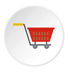 Red plastic shopping basket on wheels icon circle vector