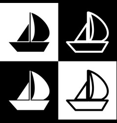 Sail boat sign black and white icons and vector