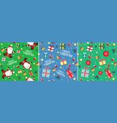 santa claus christmas present seamless pattern set vector image vector image