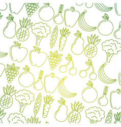seamless pattern fruit and vegetables with green vector image