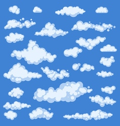 Set of blue sky clouds icon shape different vector image vector image