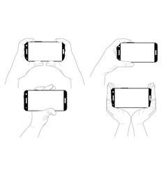 Set of hands with smartphones vector image