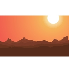 Silhouette of mountain beauty scenery vector image vector image