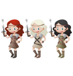 Three female warriors holding swords vector