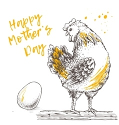 Vintage design with hen and egg Happy Mother day vector image