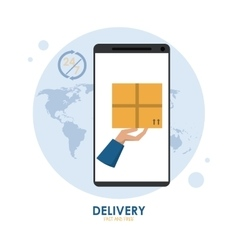 Smartphone and package icon fast delivery design vector