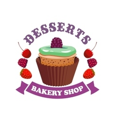 Muffin cake with berries bakery shop emblem vector