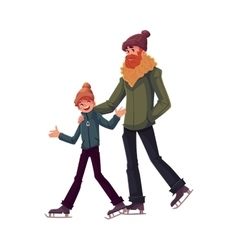 Happy father and son ice skating together vector