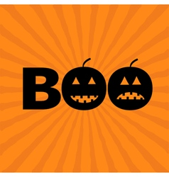 Word BOO text with smiling sad black pumpkin vector image