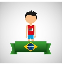Cartoon athletics player brazilian label vector