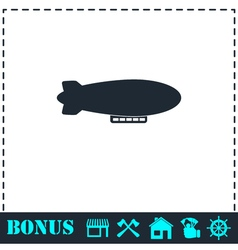 Airship zeppelin icon flat vector