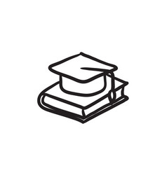 Graduation cap laying on book sketch icon vector