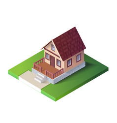 Isometric country house on green ground the vector