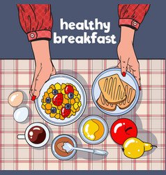 Healthy breakfast table with toasts bowl fruits vector