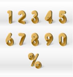 3d yellow golden numbers percent 0 1 2 3 4 vector