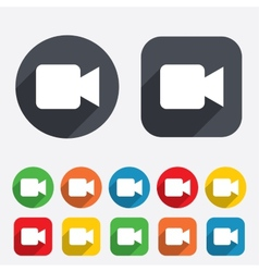 Video camera sign icon Video content button vector image