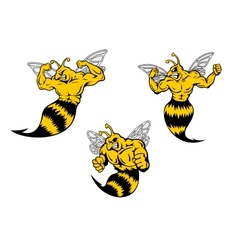 Angry cartoon wasp or hornets with a sting vector image