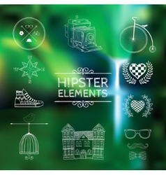 Hand-drawn elements on blurred background vector image
