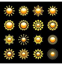 Glossy Sun Icons Set vector image
