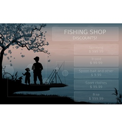 Father and son fishing vector