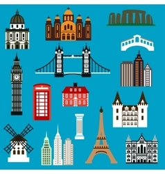 World travel landmark flat icons vector