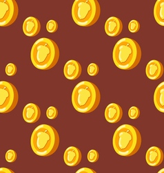 Seamless pattern with coins and hazelnuts vector